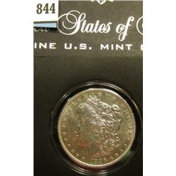 1896 P Morgan Silver Dollar, Uncirculated, in a special holder.