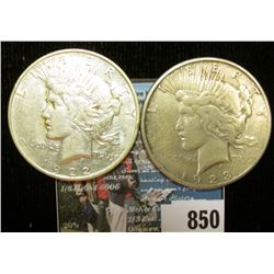 1922 D & 23 S U.S. Peace Silver Dollars, VF-EF, one with C.O.A. from the American Historical Society
