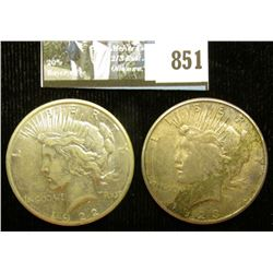 1922 S & 23 S U.S. Peace Silver Dollars, VF-EF, one with C.O.A. from the American Historical Society