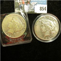 1922 S VG & 1923 S VF U.S. Peace Silver Dollar, both with C.O.A.s from the Aermican Historical Socie