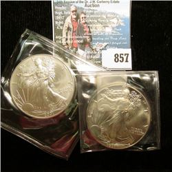 1987 & 2001 U.S. American Silver Dollar One Ounce .999 Fine Silver. Brilliant Uncirculated. One with