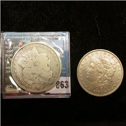1888 O Very Fine & 21 P VG U.S. Morgan Silver Dollars.