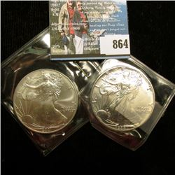 1988 & 2001 U.S. American Silver Dollar One Ounce .999 Fine Silver. Brilliant Uncirculated. One with