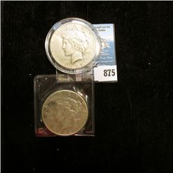 Pair of 1922 S U.S. Peace Silver Dollars,one with C.O.A.s from the Aermican Historical Society.