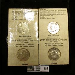 Pair of 1964 P & D Silver Kennedy Half-Dollars in original Tidy House Products advertising holders.