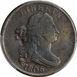 1806 1/2C. Draped Bust Half Cent. PCGS Genuine.