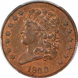 1833 1/2C. Classic Head Half Cent. PCGS Genuine.