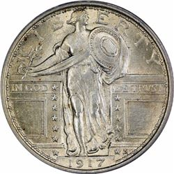 1917 25C. Standing Liberty Type 1. PCGS MS64 FH.