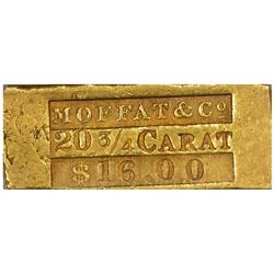 San Francisco. (Summer 1849) Moffat & Co. $16 Gold Ingot. Kagin-3. Rarity-6+. AU-50 PCGS.