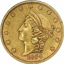 1854 Kellogg & Co. Gold $20. Kagin-2. Rarity-4. Reeded Edge. AU-55 PCGS. OGH.