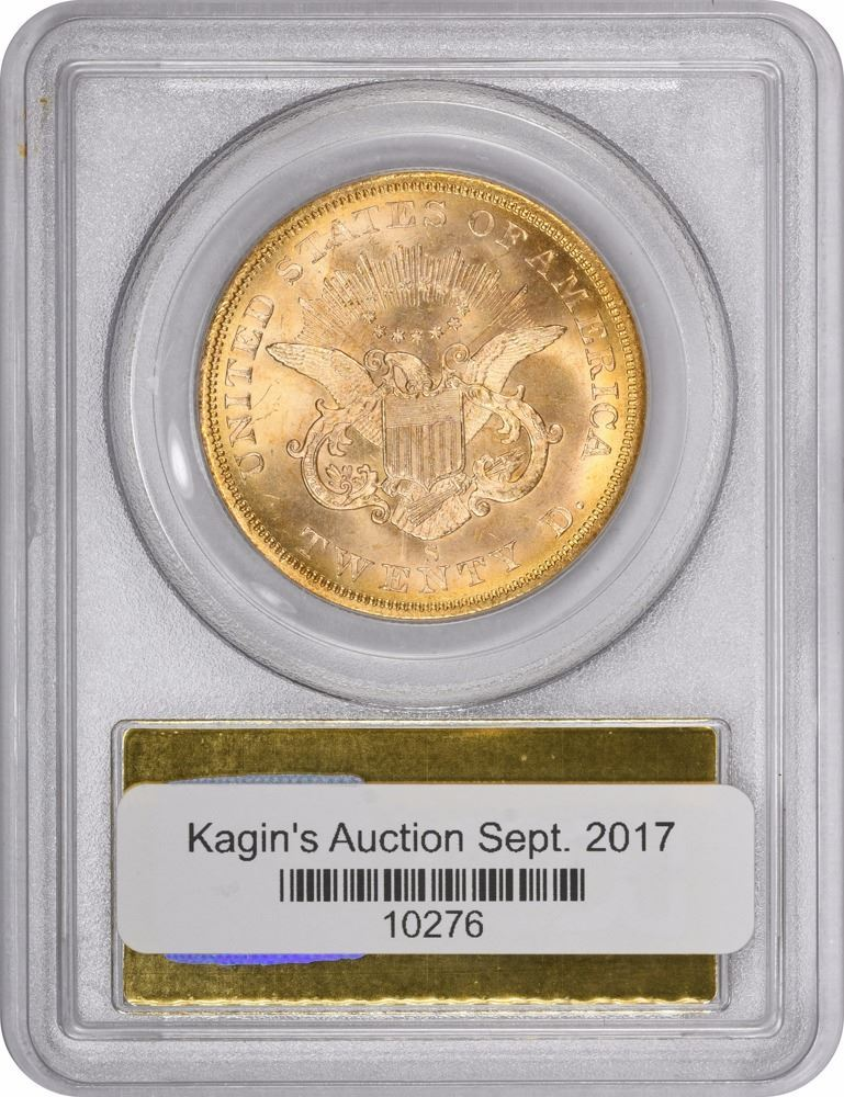1857-S $20 Dies 20-A, Spiked Shield. MS-62 PCGS Gold Foil S.S. ...
