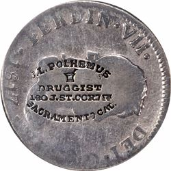 J.L. Polhemus Counterstamp on Peru 1817 Lima Mint 2 Reales. M-CALIF-2A, Brunk P-563. NCS Ungraded. H