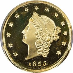 """1855"" (August 29, 2001) California Historical Society Commemorative Restrike Kellogg & Co. $50 Gold"