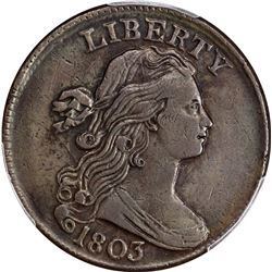 1803 1C. S-258. Small Date, Large Fraction. Rarity-1. EF-45 PCGS.