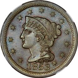 1853 1C. Newcomb-3. Rarity-1. MS-65 BN NGC.