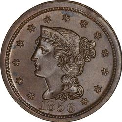 1856 1C. Newcomb-12. Upright 5. Rarity-1+. MS-64 BN NGC.