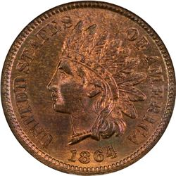 1864-L 1C. on Ribbon Bronze Cent. MS-65 RB NGC. CAC.