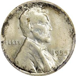 1955-S 1C. Cent on Silver Dime Planchet Mint Error. MS-62 PCGS.