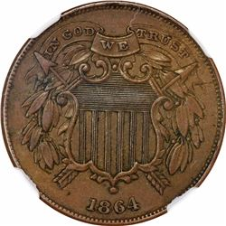 1864 2C. Small Motto. MS-61 BN NGC.