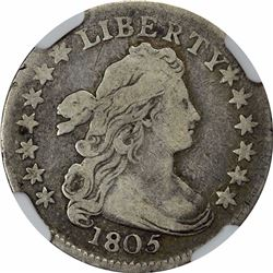 1805 10C. JR-2. 4 Berries Reverse. Rarity-2. Fine-12 NGC.