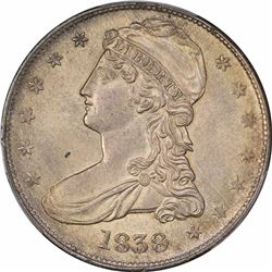 1838 50C. Reeded Edge. HALF DOL. MS-62 PCGS.