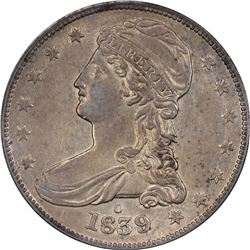 1839-O 50C. Reeded Edge. Repunched Mintmark. HALF DOL. EF-45 PCGS.