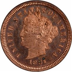 1881 Pattern Cent. Judd-1666, Pollock-1866. Copper. Plain Edge. Rarity-6. Proof-63 RD PCGS. OGH.