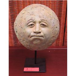 """Sculpture on Stand - Cratered Orb w/Face, Approx. 14"""" H, 8"""" dia."""