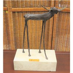 """Sculpture - Long-Legged Moose on Block Stand, Ltd. Ed. 56 of 250, Approx. 20"""" H, 12"""" W"""