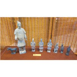 Lot of 7 Terra Cotta Soldier Figures & Horse, Varying Sizes