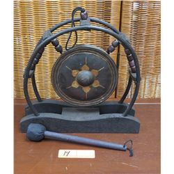 Hanging Gong w/Black Wooden Stand and Circular Frame