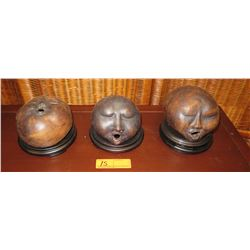 """Qty 3 Sculptures: Heads/Faces Trio w/Black Stands, Approx. 6"""" to 7"""" Tall"""