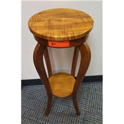 """Furniture - Curly Koa Side Table/Stand w/Curved Legs, Approx, 29"""" H, 12"""" dia."""