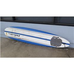 surfboard-Blue and white Wavestorm soft top surfboard