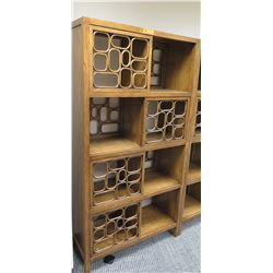 """Furniture - Hardwood Shelving System w/Geometric Accents, 5 Shelves, Approx, 29"""" H, 12"""" dia."""