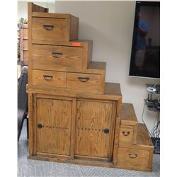 "Furniture - Rustic Tansu Chest w/Bottom Cabinet, 59.25"" x 25.5"" x 73"" (termite damage, recently prof"