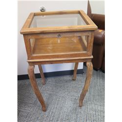 "Furniture - Antique Display Case, Origin Unknown, Has Wobbly Leg, 21.5"" x 21.5"" x 36.5"""