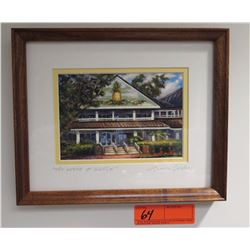 """Framed Art: """"The Lodge at Koele"""" (Lanai), by Mike Carroll, Signed, 9.5"""" x 11"""""""