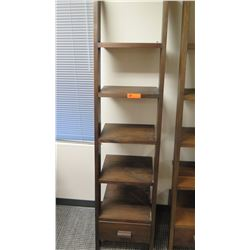 "Furniture - Wooden Shelving Unit, 5-Shelves, Bottom Drawer, Ladder-Style, Dark Hardwood Approx 17"" x"