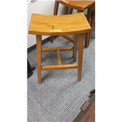 Furniture - Wooden Bar Height Stool w/Curved Seat