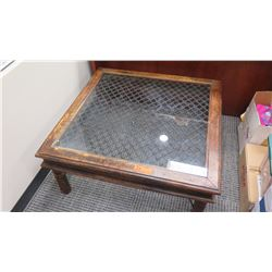 Furniture - Antique Wood Table w/Chain Link & Glass Top, Origin Unknown, Approx.