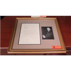 Original Letter Signed by Albert Einstein, Original Signature, Framed w/Photograph, Original Envelop