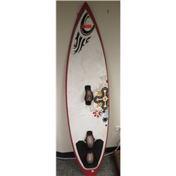 kiteboard- red, black and white
