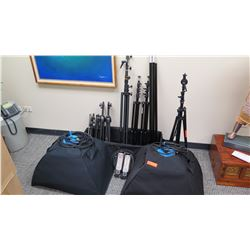 Approx. 8 Tripods and Qty 2 Westcott Spiderlite Lighting Kits