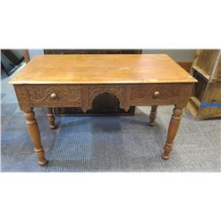 Furniture - Wooden Desk w/Intricate Carved Front, 2 Drawers, Unknown Origin, Teak?