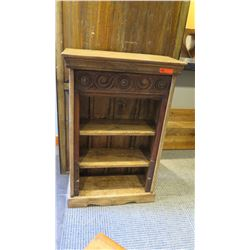 Furniture - Antique Mini Wooden Bookcase w/Carved Accents, Origin Unknown, 29x13.5x44.5