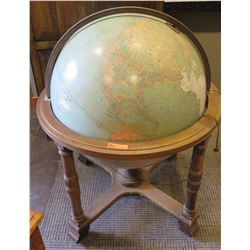 Oversized Antique Floor Globe, Hard Foam-Like Core, Some Damage, Carved Wooden Stand