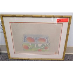"Framed Art: Fruit ""Diary: June 9 '05"", Signed. Approx 20.75"" x 16.5"""