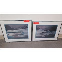 "Framed Art:  2 Photographic Dyptychs of Snow-Capped Mountains Approx 19"" x 16"""