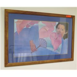 """Framed Art: Anthuriums & Fan by Pegge Hopper, Signed, Approx 41.25"""" x 28.5"""""""